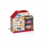 Guidecraft Wooden Vehicle Collection 12 Piece Set: solid wood, 12 vehicles, colorful, variety of trucks (G6719)