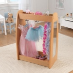 Kidkraft Dress Up Unit - Natural w/ Hooks: Additional storage at the bottom of the unit is perfect for storing shoes and other accessories that won't fit on a hanger