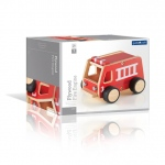 Guidecraft Plywood Fire Engine: plywood construction, bold colors, rubber non-skid wheels, fully assembled (G7507)