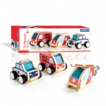 Guidecraft Jr Plywood Community Trucks: Set includes a Fire Truck, an Emergency Helicopter, and a Police Car., Features sturdy plywood construction and frosted acrylic windows., Wide, soft plastic treads provide great traction. Detailed artwork enhances e