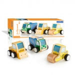 Guidecraft Jr Plywood Construction Trucks: Set includes a Dump Truck, a Roller, and Front Loader., Features sturdy plywood construction and frosted acrylic windows., Wide, soft plastic treads provide great traction., Detailed artwork enhances each unique