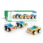 Guidecraft Jr Plywood Race Cars: Set includes an indigo and green #9 car, a red and blue #7 car, and a yellow and orange #5 car., Features sturdy plywood construction and frosted acrylic windows., Wide, soft plastic treads provide great traction. Detailed