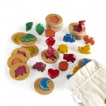 Guidecraft 3D Feel & Find World Icons: individual or group play, 20 different shapes, chunky pieces, colorful (G6708)