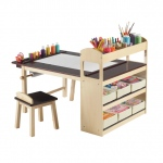Guidecraft Deluxe Art Center: 2 stools, birch wood construction, UV-coated table top, storage bins included (G51082)