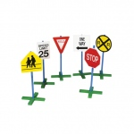 "Guidecraft Drivetime Signs - Set of 6: 6 signs, 30"" tall, adjustable poles, sturdy non-tip base (G3060)"