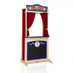Guidecraft Wooden Floor Theater: interchangeable signs, chalkboard, clock, curtains included (G51072)