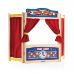 Guidecraft WoodenTabletop Theater: interior storage pocket, interchangeable signs, clock, curtains included (G51073)