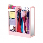 Guidecraft See and Store Dress-Up Center - Pastel: 3 Storage Units On One Side, Deep Bottom with Sides, Sturdy Wooden Dowel, Acrylic Mirror (G98103)