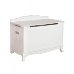 Guidecraft Classic White Toybox: Scalloped Silhouettes, Spacious Interior, Safety Lid Supports, Cut Outs to Prevent Finger Pinching (G85704)