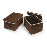 Badger Basket Medium Folding Storage Baskets with Adjustable Dividers Set: Espresso, Set of 2