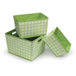 Badger Basket Nesting Trapezoid 3 Basket Set: Sage Polka Dots
