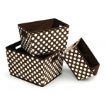 Badger Basket Nesting Trapezoid 3 Basket Set: Brown Polka Dots