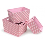 Badger Basket Nesting Trapezoid 3 Basket Set: Pink Polka Dots