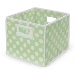 Badger Basket Folding Basket Storage Cube: Sage Polka Dots