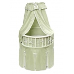 Badger Basket White Elegance™ Round Baby Bassinet with Sage Waffle Bedding