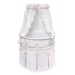 Badger Basket White Elegance™ Round Baby Bassinet with White Waffle & Pink Bedding