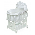 Badger Basket White Batiste HALF SKIRT Portable Bassinet and Cradle with Toybox Base