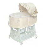 Badger Basket Ecru Waffle Pleated Portable Bassinet and Cradle with Toybox Base