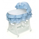 Badger Basket Blue Waffle Ruffled Portable Bassinet and Cradle with Toybox Base