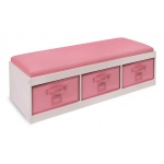 Badger Basket Kids Storage Bench with Cushion and Three Bins: White with Pink