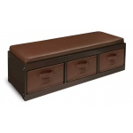 Badger Basket Kids Storage Bench with Cushion and Three Bins: Espresso with Espresso