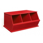 Badger Basket Three Bin Storage Cubby: Red
