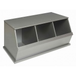 Badger Basket Three Bin Storage Cubby: Silver