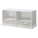 Badger Basket Shelf Storage Cubby with Three Baskets: White