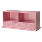 Badger Basket Shelf Storage Cubby with Three Baskets: Pink