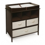 Badger Basket Estate Changing Table with 3 Baskets: Espresso