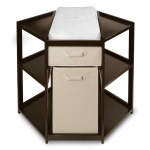 Badger Basket Diaper Corner Baby Changing Table with Hamper and Basket: Espresso