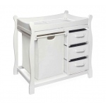 Badger Basket Sleigh Style Changing Table with Hamper and 3 Baskets: White
