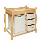 Badger Basket Sleigh Style Changing Table with Hamper and 3 Baskets: Natural