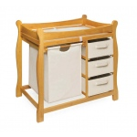 Badger Basket Sleigh Style Changing Table with Hamper and 3 Baskets: Honey
