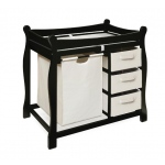 Badger Basket Sleigh Style Changing Table with Hamper and 3 Baskets: Black