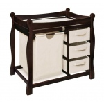 Badger Basket Sleigh Style Changing Table with Hamper and 3 Baskets: Espresso