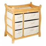 Badger Basket Sleigh Style Changing Table with Six Baskets: Natural