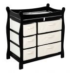 Badger Basket Sleigh Style Changing Table with Six Baskets: Black