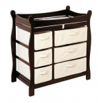 Badger Basket Sleigh Style Changing Table with Six Baskets: Espresso