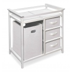 Badger Basket Modern Changing Table with 3 Baskets and Hamper: White