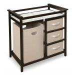 Badger Basket Modern Changing Table with 3 Baskets and Hamper: Espresso