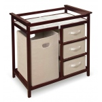 Badger Basket Modern Changing Table with 3 Baskets and Hamper: Cherry
