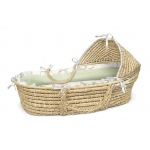 Badger Basket Natural Hooded Moses Basket with Sage Gingham Bedding