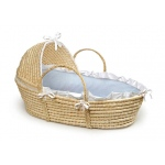 Badger Basket Natural Hooded Moses Basket with Blue Gingham Bedding