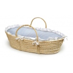 Badger Basket Natural Moses Basket with Blue Gingham Bedding