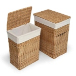 Badger Basket Natural Two Hamper Set with Liners
