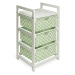 Badger Basket White Finish Three Bin Hamper Storage Unit: Sage Polka Dots
