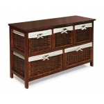 Badger Basket Five Basket Storage Unit with Wicker Baskets: Cherry