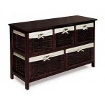 Badger Basket Five Basket Storage Unit with Wicker Baskets: Espresso