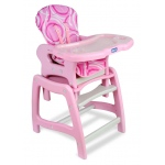 Badger Basket Envee Baby High Chair with Playtable Conversion: Pink and White